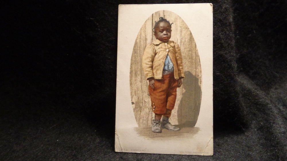 Vintage Black Americana ( RPPC) Mammy's Pet Detroit Lithograph US
