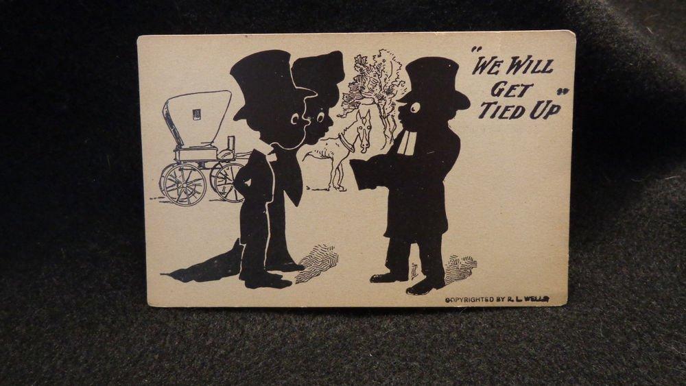 "Vintage Black Americana ""We Will Get Tied Up"" Comic Postcard R. L. Well US"