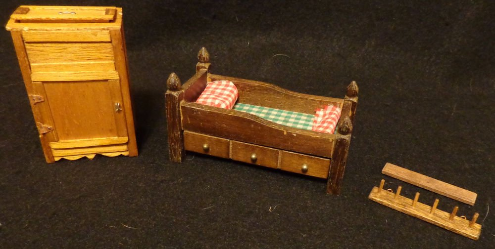 Doll House Miniatures Lot Wooden Bed w/ Spindles, Ice Chest and Coat Hook
