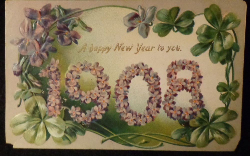Vintage Happy New Year Post Card Embossed by Raphael Tuck Used