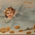 Vintage Happy New Year Post Card Embossed Front Used Split Back