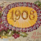 Vintage happy New Year Post Card 1908  Embossed Design Used Split