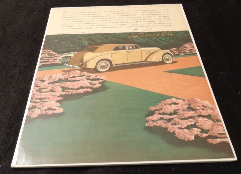 Lincoln Advertisement for Le Baron Convertible Sedan  Vintage and Original 1937