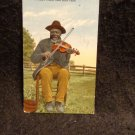 """Vintage Black Americana Postcard """"A Happy Fiddler from Dixie Land"""" 1917 RPPC"""