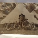 Vintage Real Photo Postcard Picture of 6 Soldiers in Front of Tent Unused Split