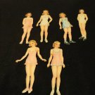 Vintage Paper Doll Party 1944 Saalfield  Cut Paper Dolls Six Paper Dolls Clothes