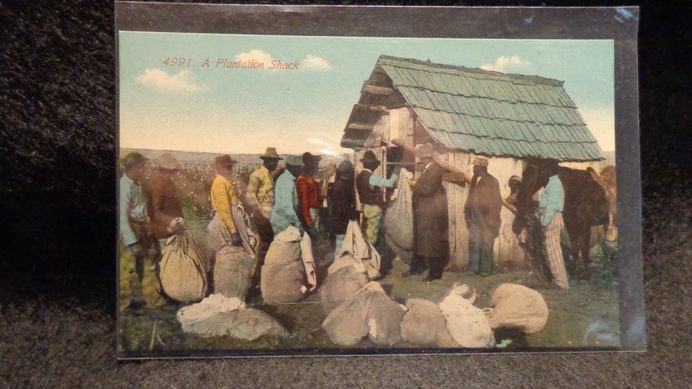 """Vintage Black Americana Postcard """"A Plantation Shack"""" #4991  Unused Split back"""