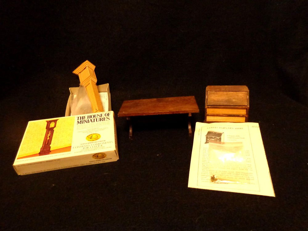 Doll House Miniatures Lot of 3  Table, Grandfather Clock, and Slant-Front Desk