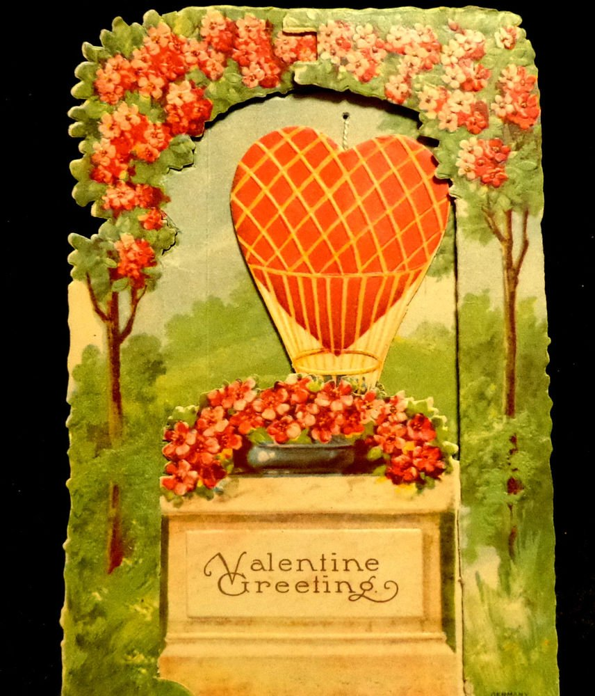Vintage Valentine Cards Card Has Balloon That Can Be Moved Up  Made in Germany