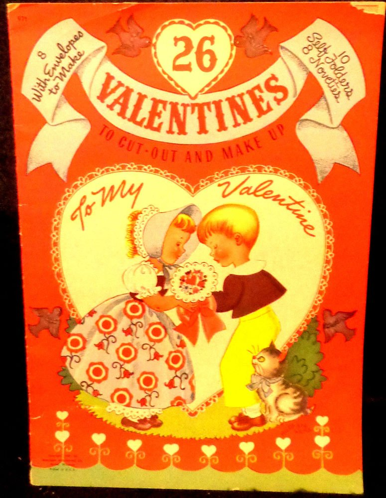 Vintage 26 Valentines To Cut-Out and Make Up by Whitman Uncut 1947 Beautiful