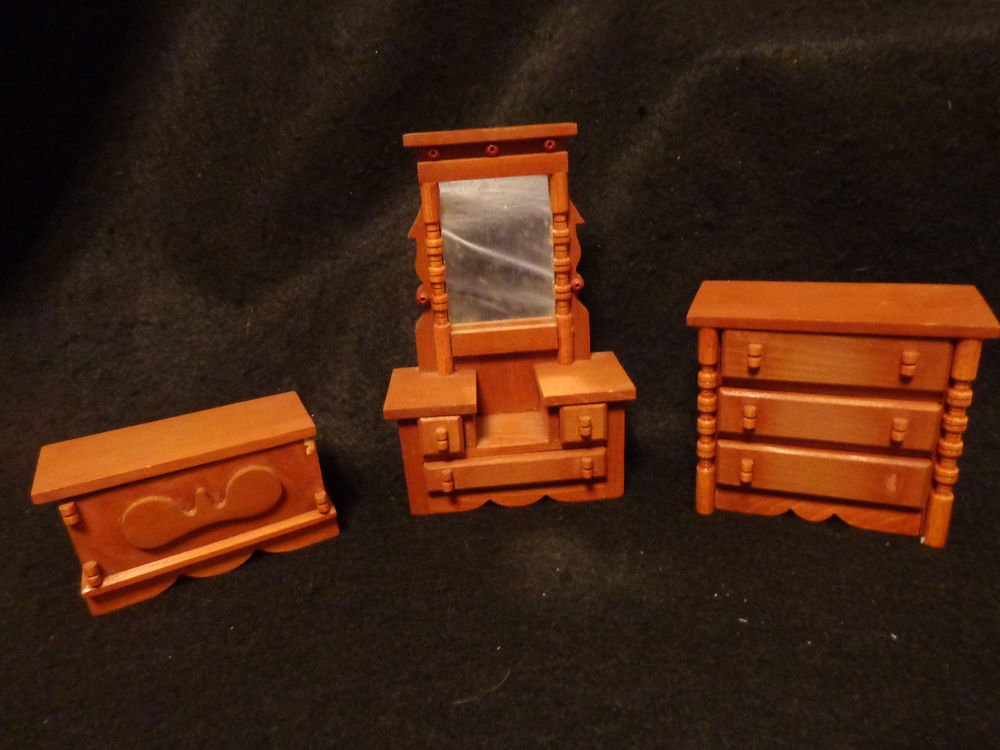 Dollhouse Miniature Furniture 3 Pieces Heavy Sturdy Pieces Drawers Open