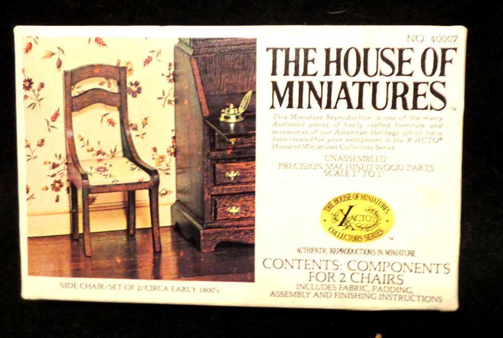 "House of Miniatures No. 40007 Side Chair Set of 2  Unassembled  In Box  1"" to 1"""