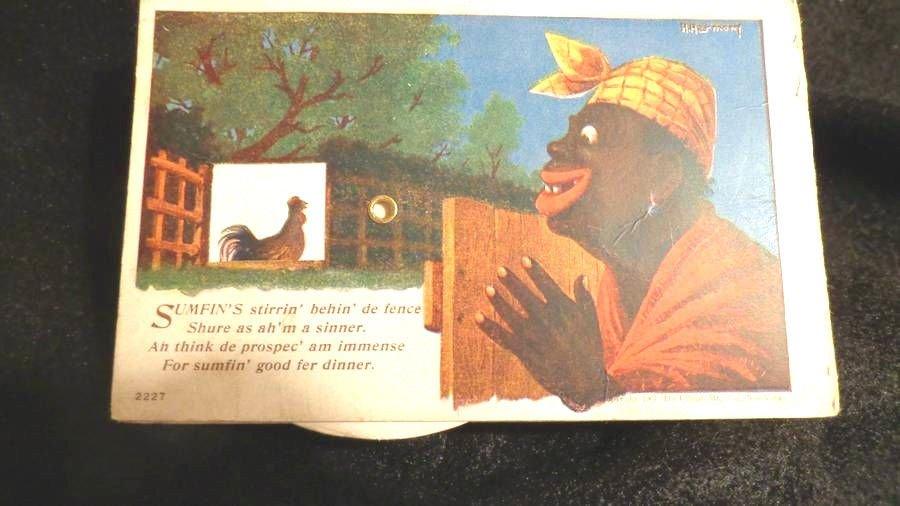 Black Americana Mechanical Postcard Artist signed, H. Harmony Rare 1907
