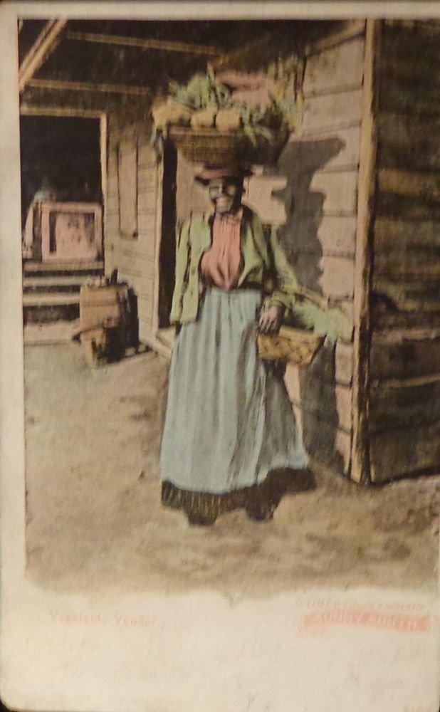 """Black Americana Postcard """"Vegetable Vendor""""   Used  Divided Back"""