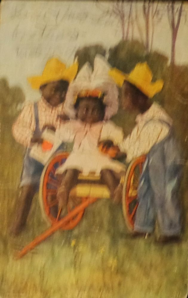 """Black Americana Postcard """"The Rivals""""  Postmarked 1907 Used Divided Back"""