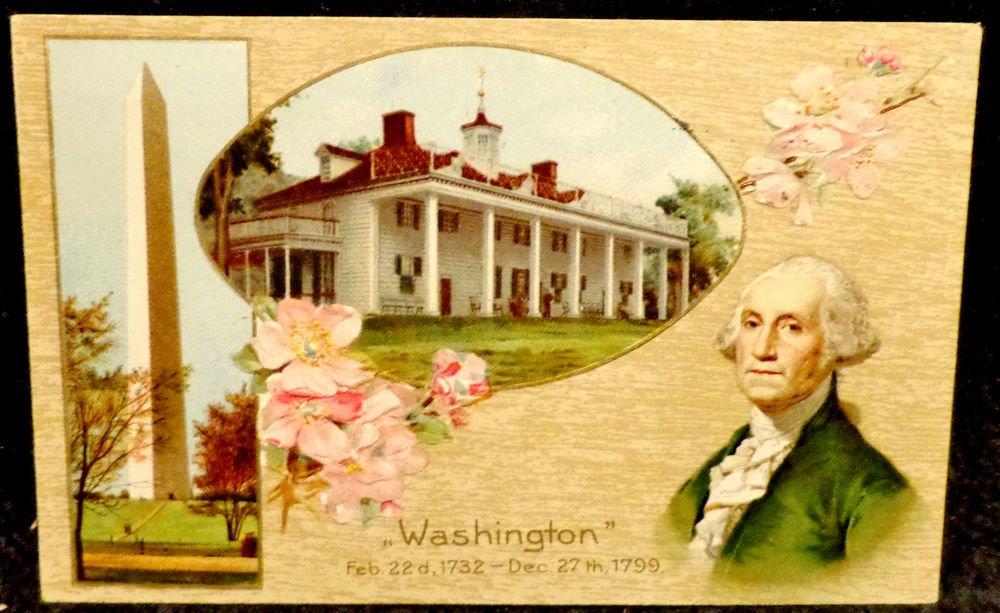 Vintage George Washington Birthday Postcard  Divided Back  Not Used Embossed