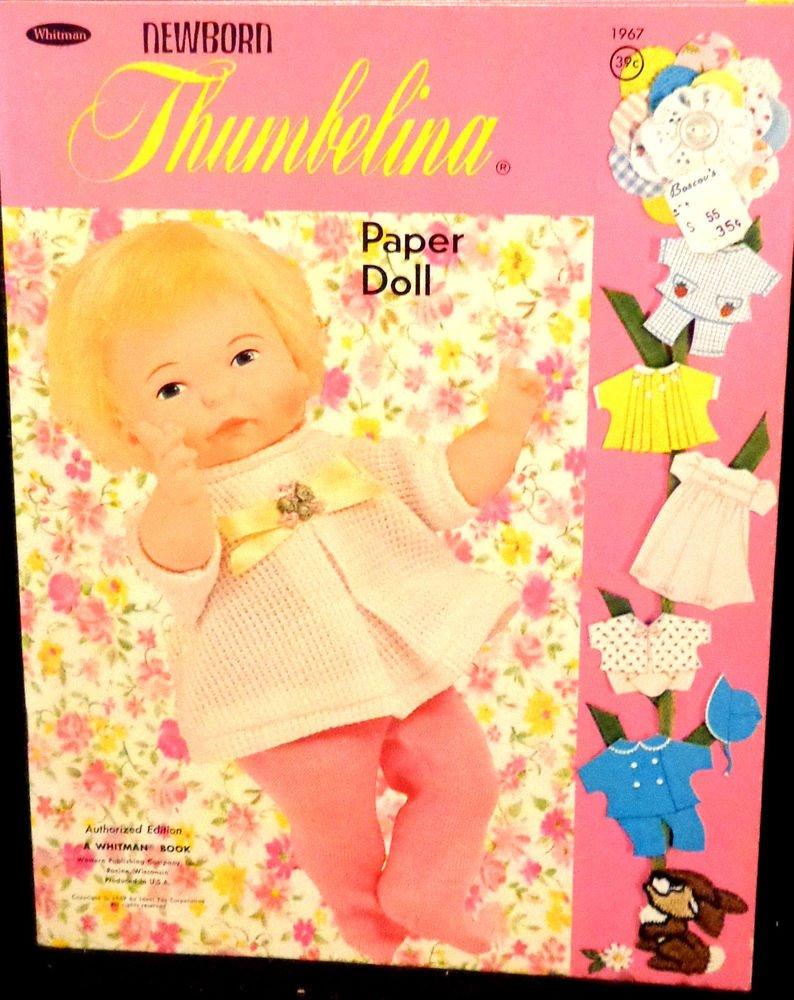 Vintage Newborn Thumbelina Paper Dolls Uncut Whitman 1969 Almost Mint