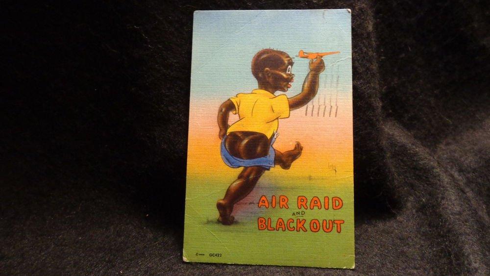 "Black Americana Postcard ""Air Raid & Black Out"" Cute Kid W/ Airplane Used 1943"