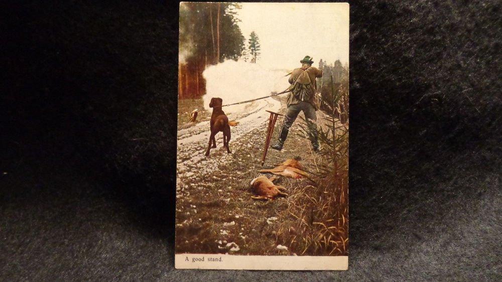 "Vintage Real Photo Postcard ""A Good Stand"". Shooting Scene  Unused Undivided"