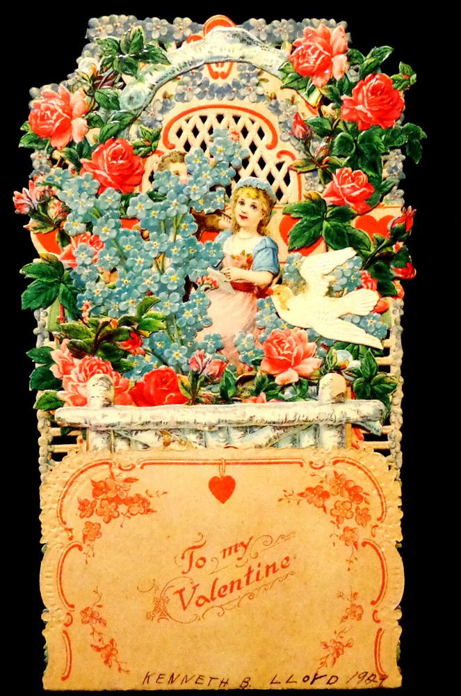 German Fold-Out Valentine Die-Cut  Embossed 9 Inches Tall Vintage 1927
