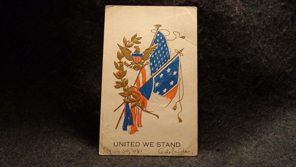 "Vintage Postcard ""United We Stand"" Used  1907 The Rose Company Embossed"