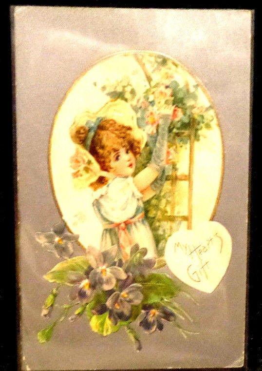 Vintage  Valentine Postcard  Used Divided Back Flowers  Embossed  1907-1915