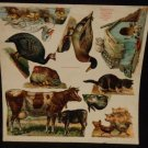 McLoughlin Brothers Uncut Sheet of Victorian Animals Nine Images on Sheet