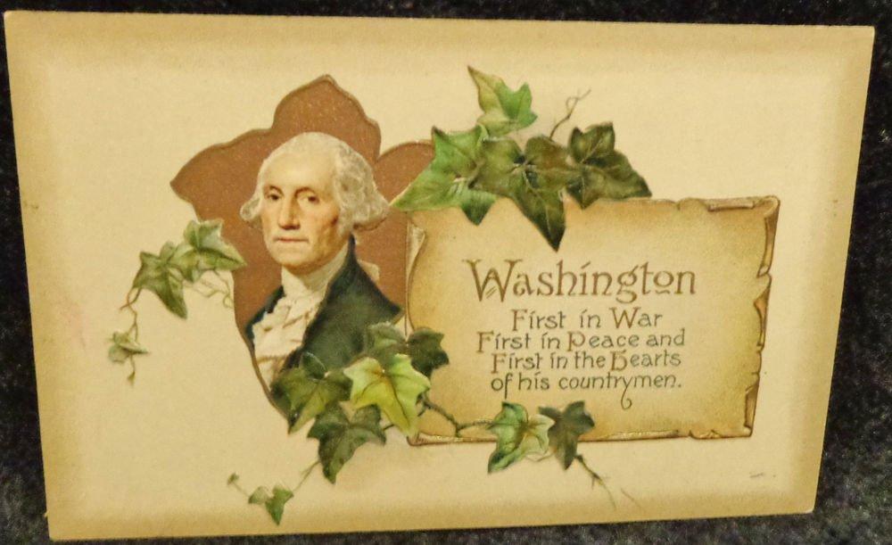 Vintage George Washington Birthday Postcard  Divided Back Unused Embossed Design