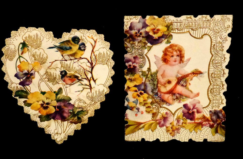 Two Vintage Valentines Circa 1908 Embossed Design Scalloped Edges Excellent