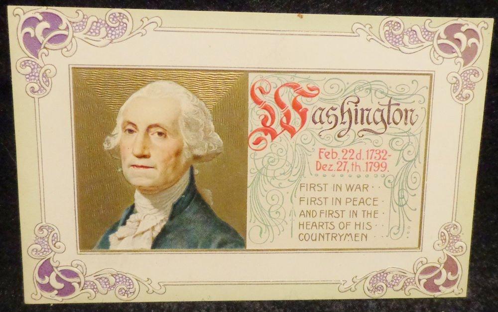 Vintage George Washington Birthday Postcard Embossed Not Used Divided Back