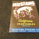 Vintage Mustang Brand California Vegetables Crate Label  Original Not Reproduced