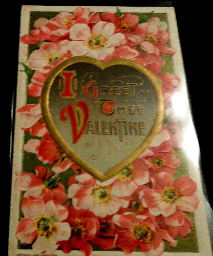 Valentine Postcard John Winsch 1910  Embossed Design Postmarked 1911