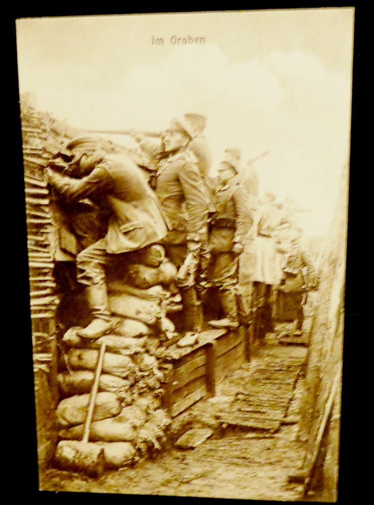 World War I Real People Postcard German Soldiers in Trench Unused Divided Back