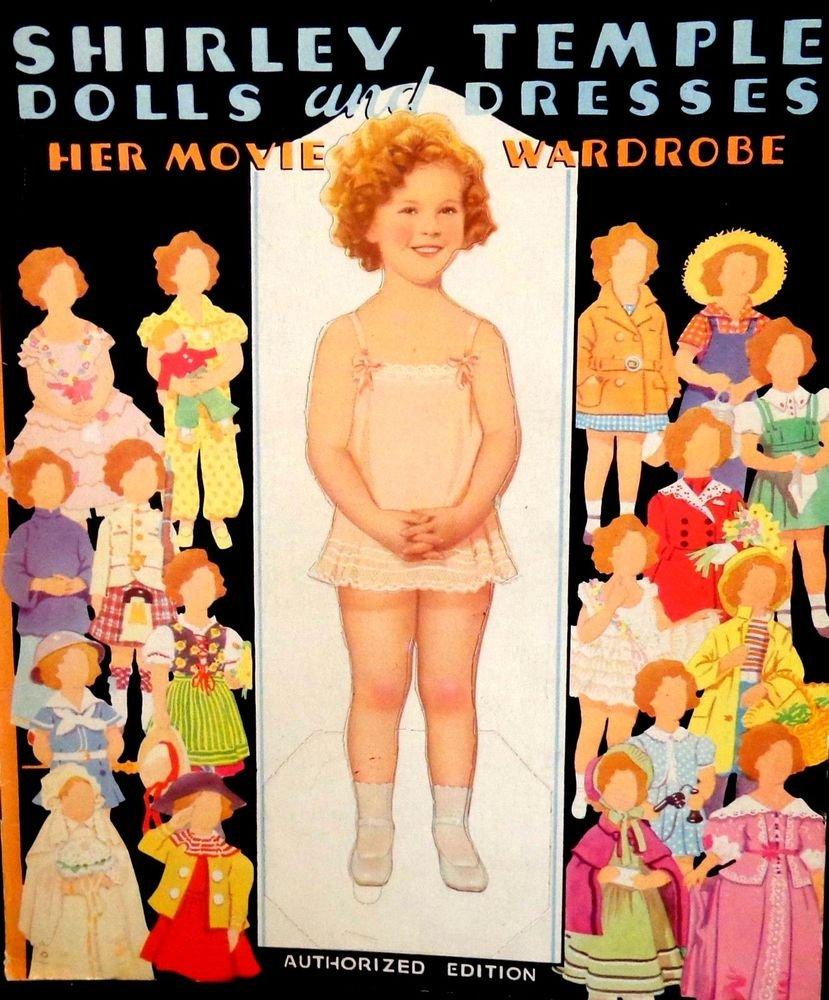 Shirley Temple Paper Dolls & Dresses Her Movie Wardrobe  UNCUT  Saalfield 1938