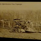 World War I Real People Postcard of Wrecked French Biplane Unused Divided Back