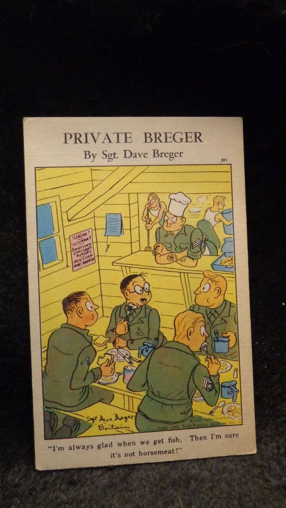 World War II Lithograph Private Breger  Signed by Sgt. Dave Breger #301 Unused