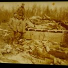 World War I Real People Postcard German Soldiers w/ Dead Bodies Unposted Divided