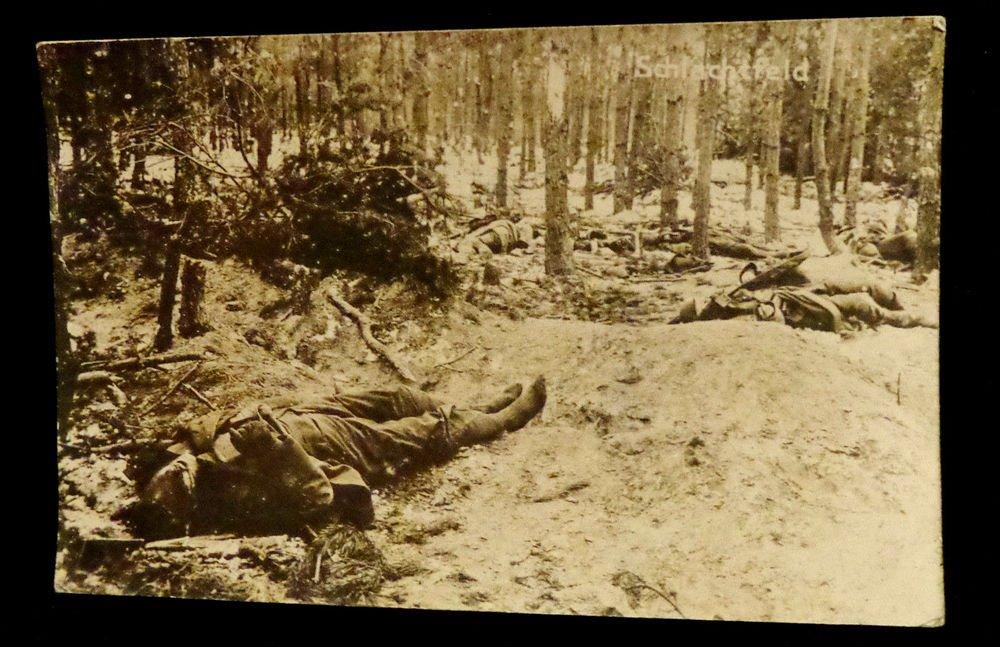 World War I Real People Postcard Dead German Soldiers Unused Divided Back