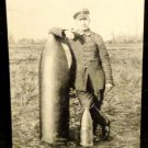 World War I Real People Postcard German Soldier w/ Unexploded Ordance Unused