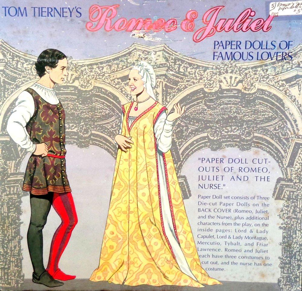 Romeo & Juliet Paper Dolls of Famous Lovers Tom Tierney 1995  Uncut Die Cut