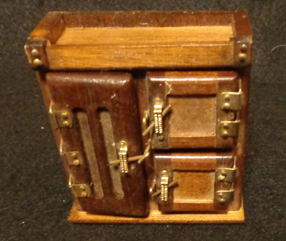 Doll House Miniature Early Americana Hutch  Has Lots of Hardware All Doors Open