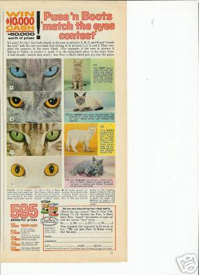 60s Puss'N Boots Ad~Cat Eyes Contest~Siamese/Persian et