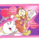 Vintage Valentine Greeting Card~Cute Anthropomorphic Teapot,Clock, Candlestick