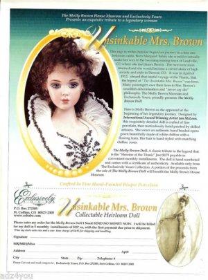 Titanic Heroine Unsinkable Molly Brown Jan McLean Porcelain Doll Advertisement