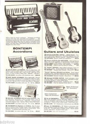 50s Vintage Musical Instruments Ad Page~Accordions,Guitars,Ukuleles,Chromonicas