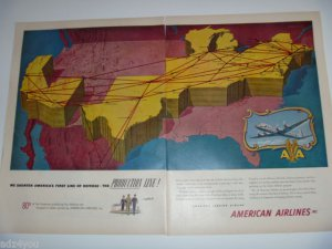 50s American Airlines Transportation US Air Travel Flagships Route Map Ad~1951