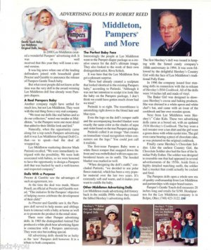 2001 Article/Pics/Info on Lee Middleton Advertising Dolls~Pampers,Hershey's