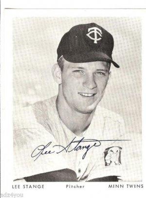 Lee Stange 4 x 5 Autograph Photo~Minnesota/MN Pitcher~Twins Baseball Team Issue