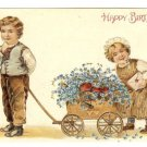 Old UNUSED Embossed Birthday Postcard~Boy Pulling Wagon Cart~Girl~Blue Flowers