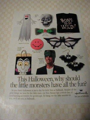 1991 Hallmark Halloween Monsters Print Ad~Frankenstein,ghost,bats,devil-ish grin